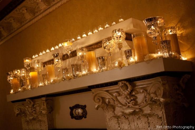 candles fireplace mercury glass